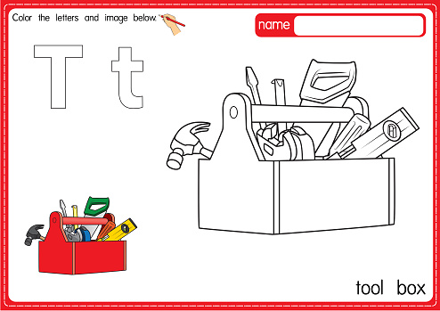 Vector illustration of kids alphabet coloring book page with outlined clip art to color. Letter T for Tool box.