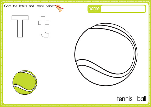 Vector illustration of kids alphabet coloring book page with outlined clip art to color. Letter T for Tennis ball.