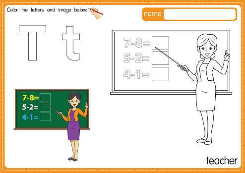 Vector illustration of kids alphabet coloring book page with outlined clip art to color. Letter T for Teacher.