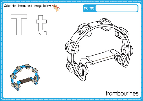 Vector illustration of kids alphabet coloring book page with outlined clip art to color. Letter T for Trambourines.