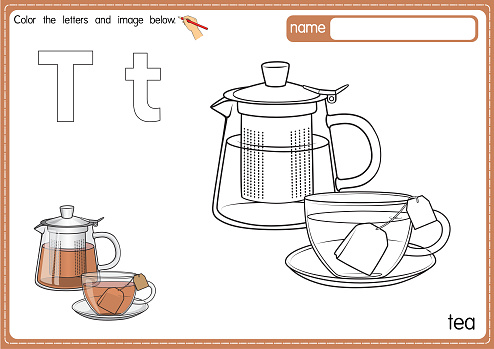 Vector illustration of kids alphabet coloring book page with outlined clip art to color. Letter T for Tea.