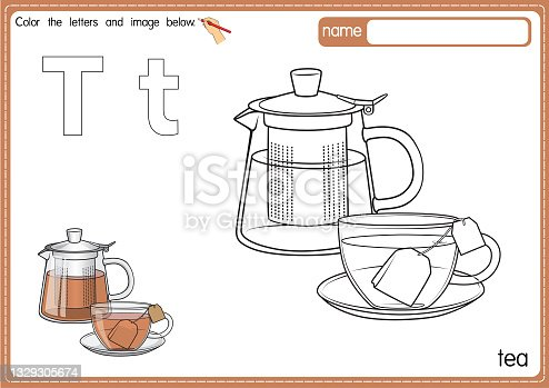 istock Vector illustration of kids alphabet coloring book page with outlined clip art to color. Letter T for Tea. 1329305674