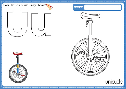Vector illustration of kids alphabet coloring book page with outlined clip art to color. Letter U for Unicycle.