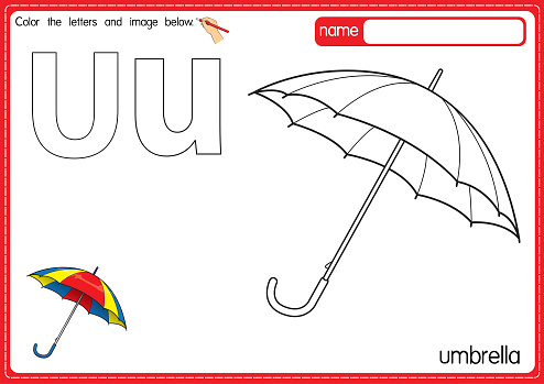 Vector illustration of kids alphabet coloring book page with outlined clip art to color. Letter U for Umbrella.