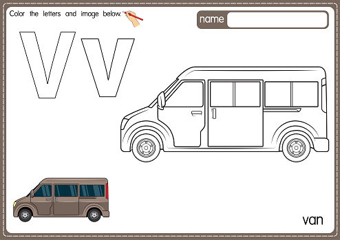 Vector illustration of kids alphabet coloring book page with outlined clip art to color. Letter V for Van.