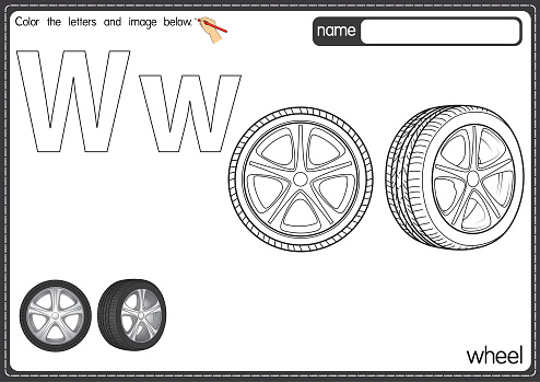 Vector illustration of kids alphabet coloring book page with outlined clip art to color. Letter W for Wheel.
