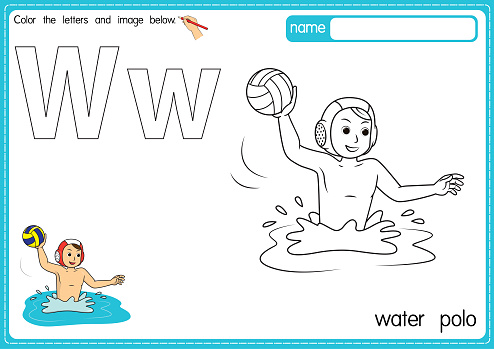Vector illustration of kids alphabet coloring book page with outlined clip art to color. Letter W for Water polo.