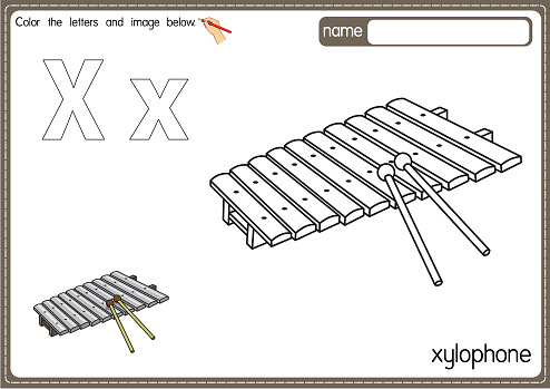 Vector illustration of kids alphabet coloring book page with outlined clip art to color. Letter X for Xylophone.