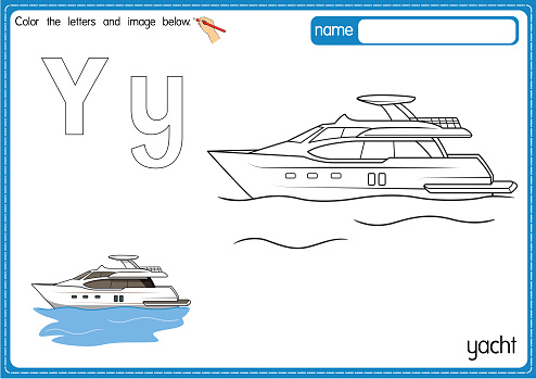 Vector illustration of kids alphabet coloring book page with outlined clip art to color. Letter Y for Yacht.