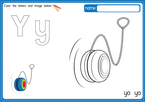 Vector illustration of kids alphabet coloring book page with outlined clip art to color. Letter Y for Yo Yo.