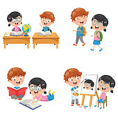 Vector Illustration Of Kids Are Back To School