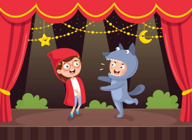 stockillustraties, clipart, cartoons en iconen met vectorillustratie van kunst voor kids - toneel