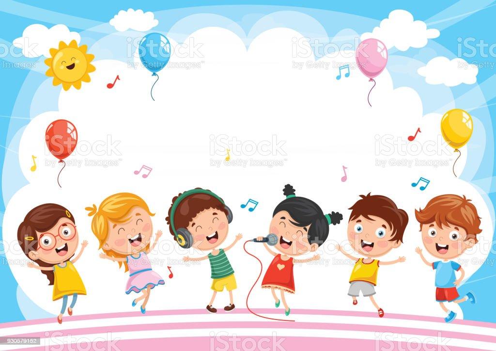 Children Reading Stock Vector Art More Images Of Baby: Vector Illustration Of Kids Background Stock Vector Art