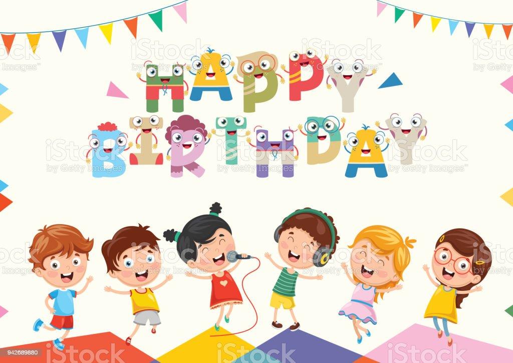 Vektor Illustration Von Kids Birthday Party Hintergrund Lizenzfreies Vektorillustration Stock