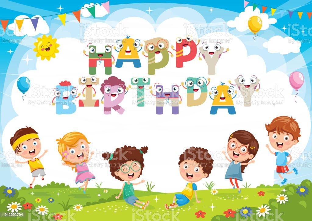 子供の誕生日パーティーの背景のベクトル イラスト お祝いのベクター