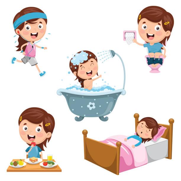 stockillustraties, clipart, cartoons en iconen met vectorillustratie van de dagelijkse routine activiteiten kinderen - alleen één meisje