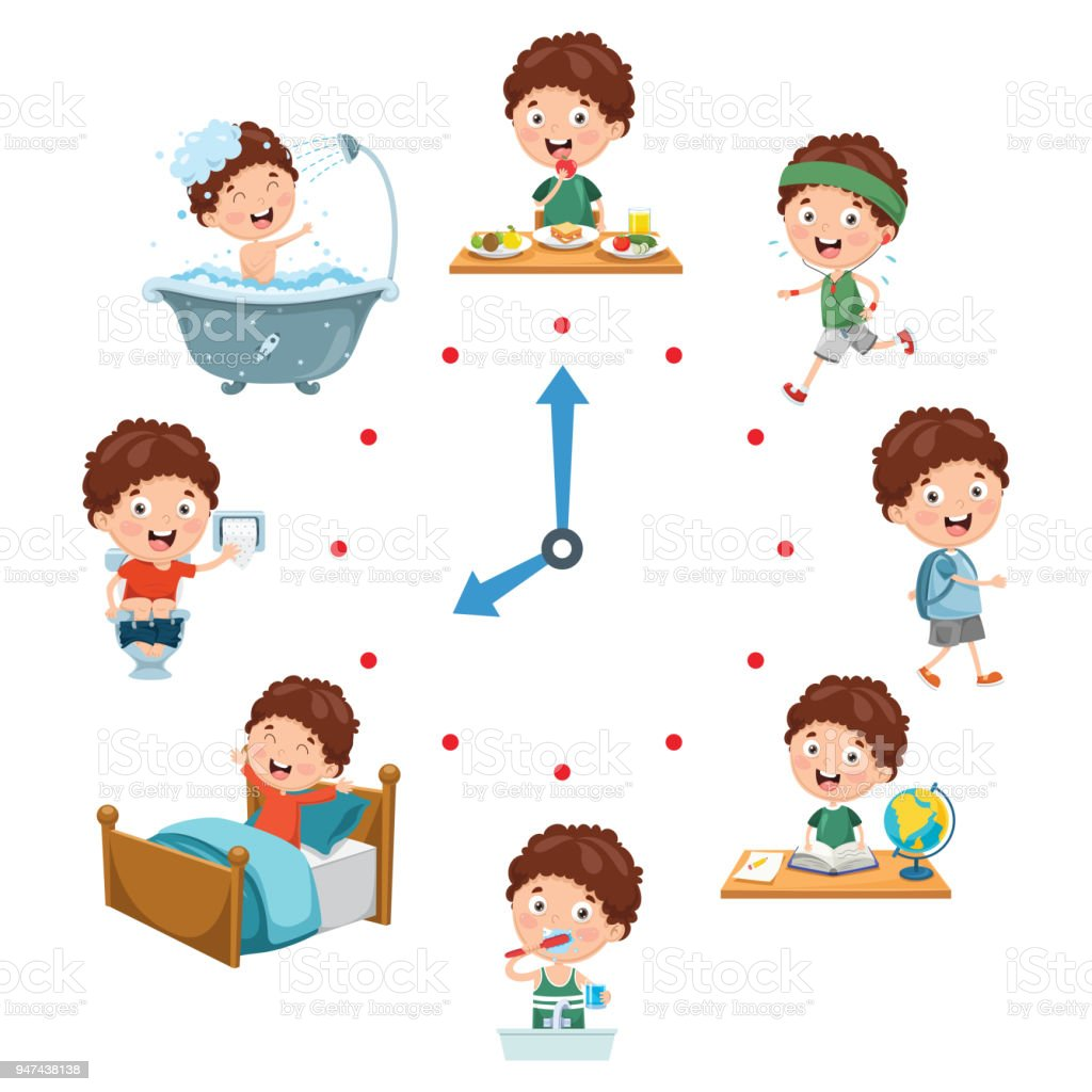 Vector Illustration Of Kids Daily Routine Activities Stock ...