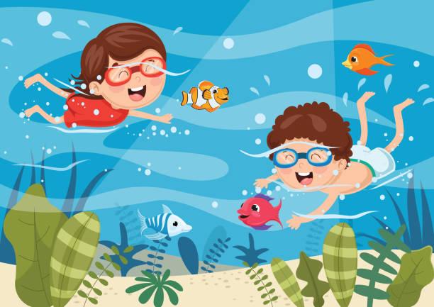 illustrazioni stock, clip art, cartoni animati e icone di tendenza di vector illustration of kids diving - nuoto mare