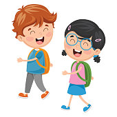 Vector Illustration Of Kids Going To School