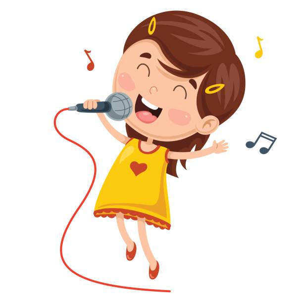 stockillustraties, clipart, cartoons en iconen met vector illustratie van kinderen maken kunst prestaties - alleen één meisje