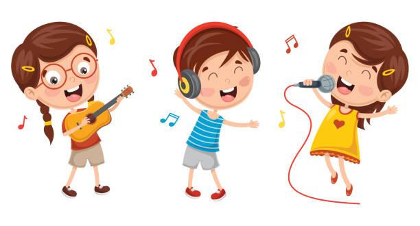 stockillustraties, clipart, cartoons en iconen met vector illustratie van kinderen maken kunst prestaties - zingen