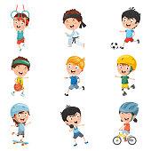 Vector Illustration Of Kids Making Sport
