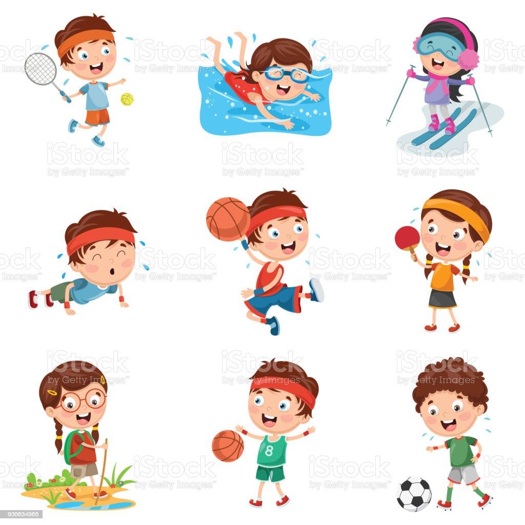 Vector Illustration Of Kids Making Sport vector art illustration