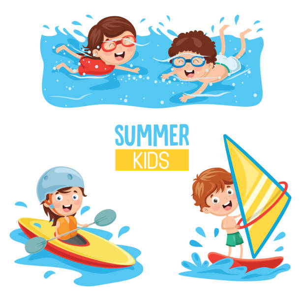 Vector Illustration Of Kids Making Water Sports Art