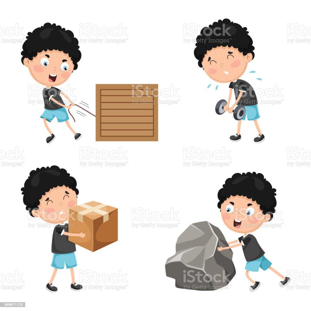 Vector Illustration Of Kids Physical Activities vector art illustration