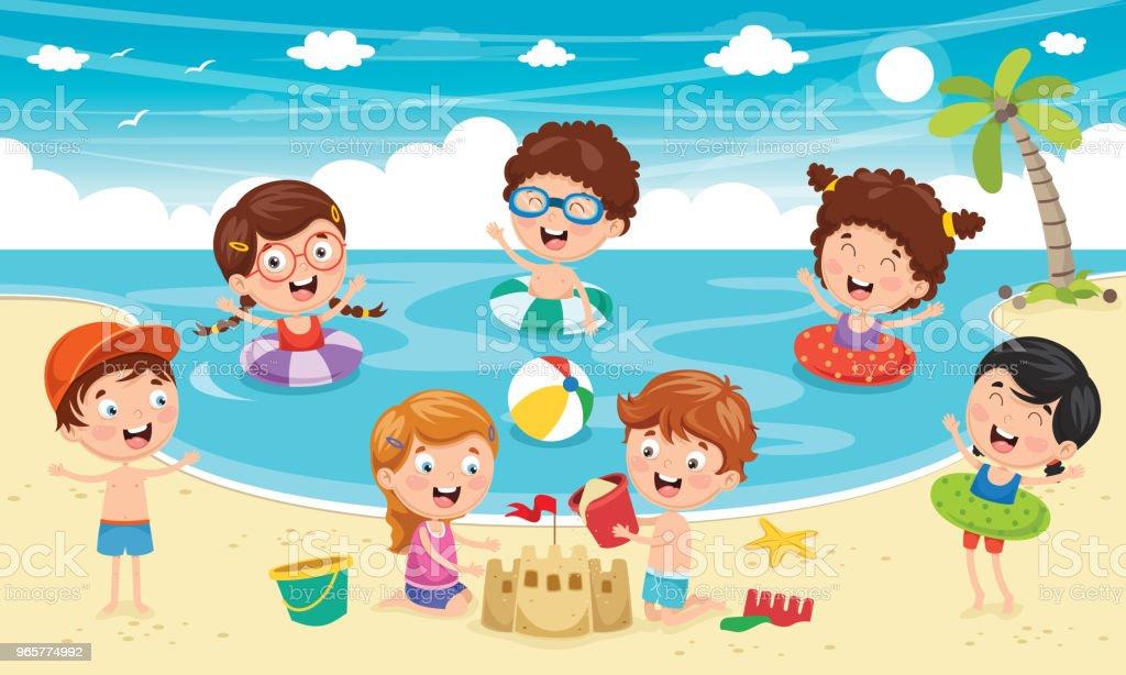 Vectorillustratie van kinderen spelen op het strand en de zee - Royalty-free Boom vectorkunst