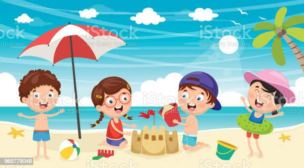 Vector Illustration Of Kids Playing At Beach And Sea Stock Illustration - Download Image Now