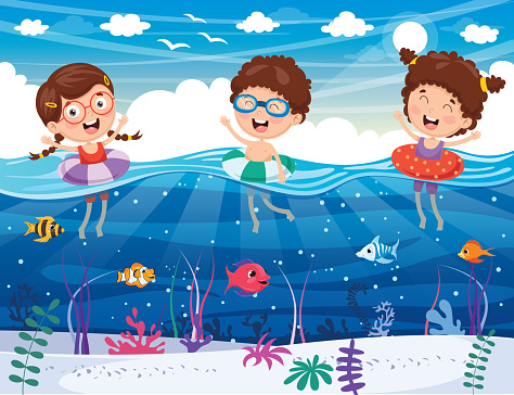 Vectorillustratie Van Kinderen Spelen Op Het Strand En De Zee Stockvectorkunst en meer beelden van Boom
