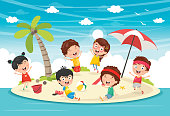 Vector Illustration Of Kids Playing At Island