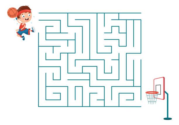 vektor-illustration von kindern spielen basketball-labyrinth - labyrinthgarten stock-grafiken, -clipart, -cartoons und -symbole