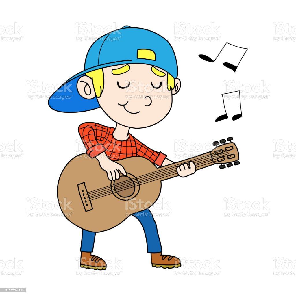 Vector Illustration Of Kids Playing Guitar vector art illustration