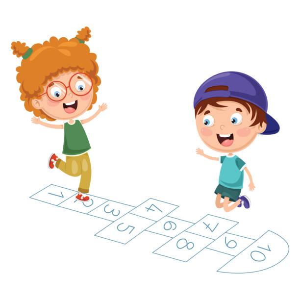 vektor-illustration von kindern, himmel und hölle spielen - himmel und hölle spiel stock-grafiken, -clipart, -cartoons und -symbole