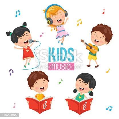 istock Vector Illustration Of Kids Playing Music 954563550
