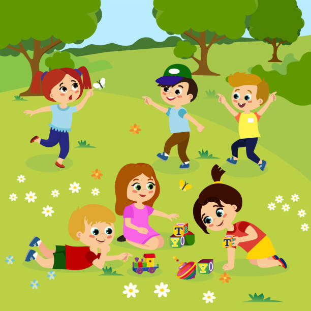 Vector illustration of kids playing outside on green grass with flowers, trees. Happy children playing on the yard with toys in cartoon flat style. vector art illustration