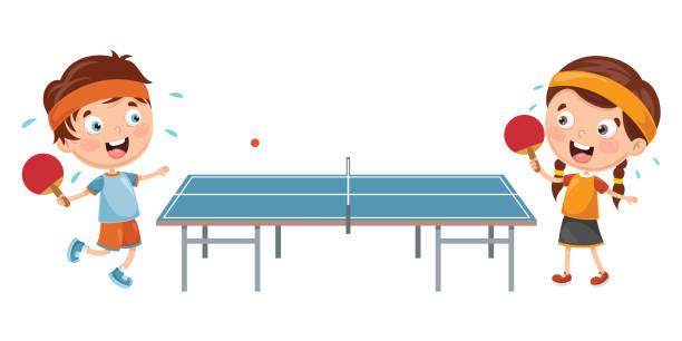Vector Illustration Of Kids Playing Table Tennis vector art illustration