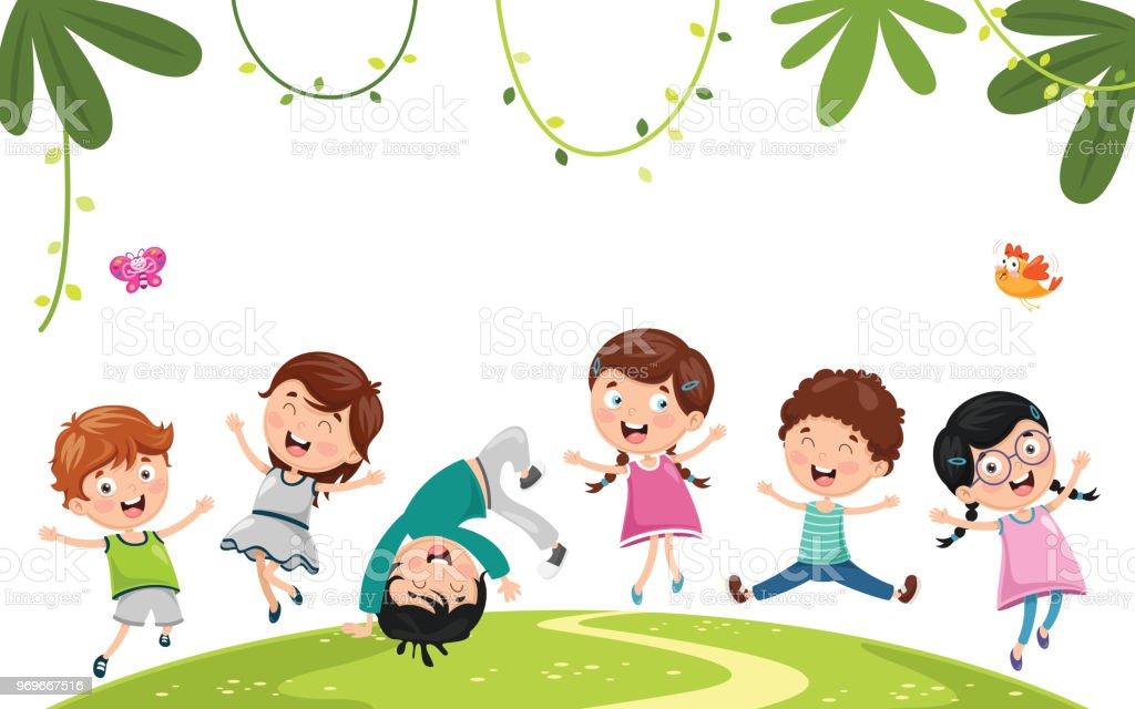 Ilustración de Vector Ilustración De Niños Jugando y más Vectores ...