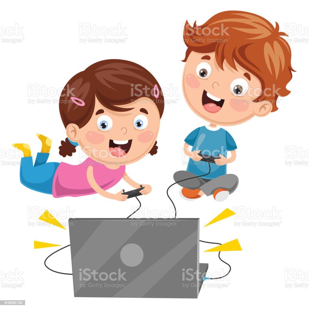Ilustracion De Vector Ilustracion De Ninos Jugando Videojuegos Y Mas