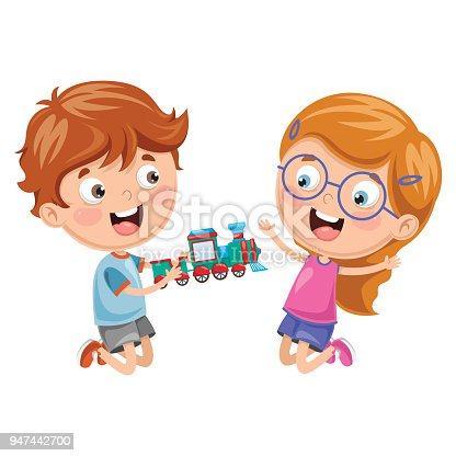 Vector Illustration Of Kids Playing With Toy