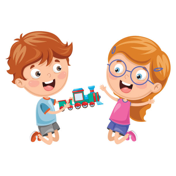 Royalty Free Kids Sharing Toys Clip Art Vector Images