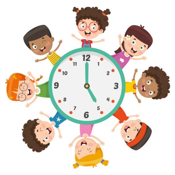 vector illustration of kids showing time - poranek stock illustrations