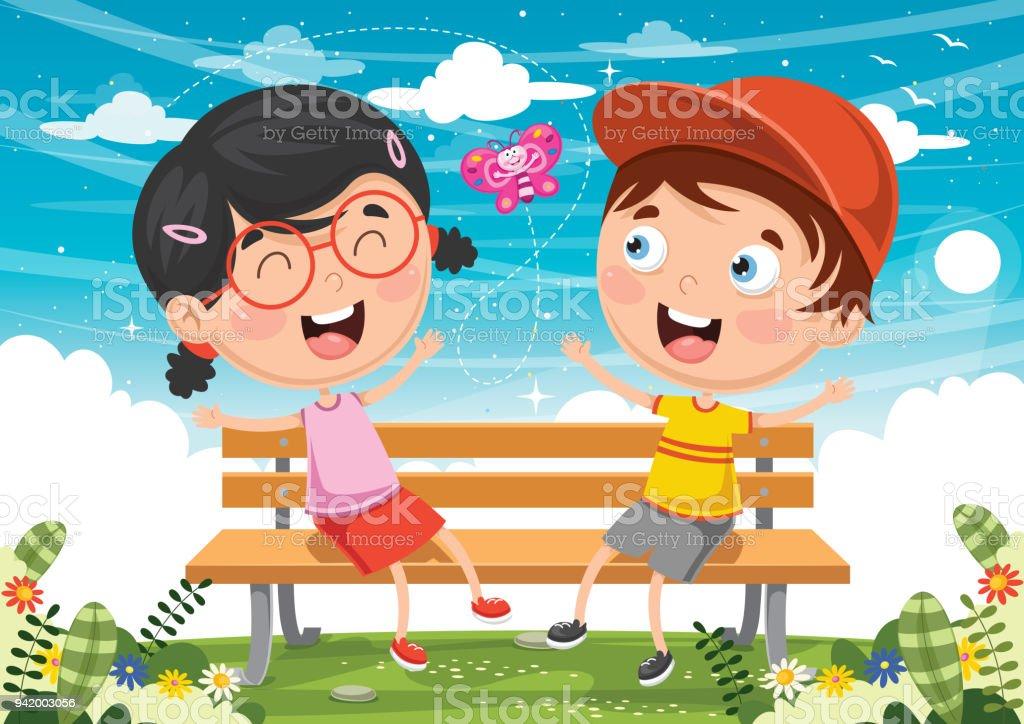Bankta Oturan çocuklar Vektör çizim Stok Vektör Sanatı Ahşapnin