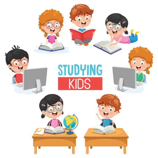 ilustrações, clipart, desenhos animados e ícones de ilustração em vetor de crianças estudando - aula de redação