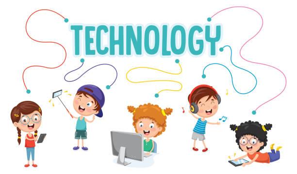illustrazioni stock, clip art, cartoni animati e icone di tendenza di vector illustration of kids technology - young digital