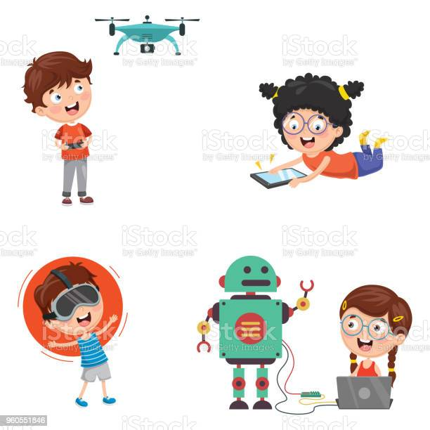 Vector illustration of kids technology vector id960551846?b=1&k=6&m=960551846&s=612x612&h=ox e9himsyieoyhsogv6fulthmrqsjuva9mnlbeod c=