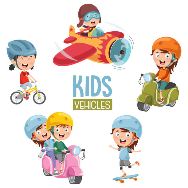 Vector Illustration Of Kids Transportation vector art illustration