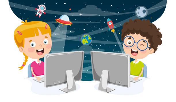 illustrazioni stock, clip art, cartoni animati e icone di tendenza di vector illustration of kids using computer - young digital